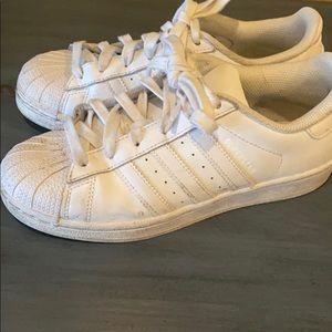 Adidas all white superstar - gently worn